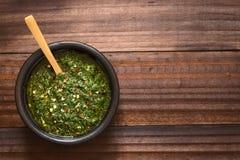 Argentinische grüne Chimichurri-Salsa stockfotografie