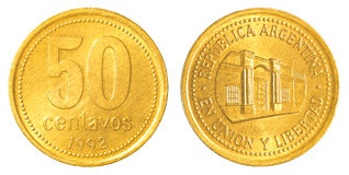 50-argentinische Pesocentavo-Münze Stockfotografie