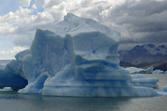 argentino冰川在upsala附近的冰山湖 图库摄影