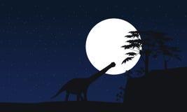 Argentinosaurus aux silhouettes de paysage de nuit Photographie stock