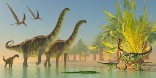 Argentinosaurus dans le lac Photos stock