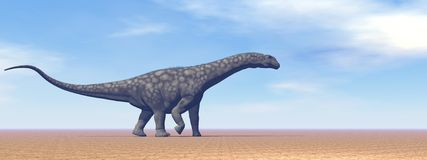 Argentinosaurus dinosaur in the desert - 3D render Royalty Free Stock Photography