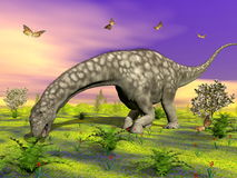 Argentinosaurus dinosaur eating - 3D render Royalty Free Stock Photography