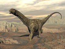 Argentinosaurus dinosaur walk - 3D render Royalty Free Stock Photo