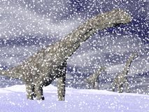 Argentinosaurus dinosaur in winter - 3D render Royalty Free Stock Photography