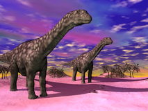 Argentinosaurus dinosaurs - 3D render Stock Images