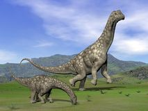 Argentinosaurus dinosaurs - 3D render Royalty Free Stock Images