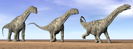 Argentinosaurus dinosaurs in the desert - 3D render Stock Photography