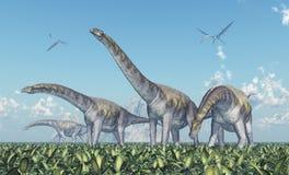 Argentinosaurus et Quetzalcoatlus Images libres de droits