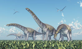 Argentinosaurus and Quetzalcoatlus Royalty Free Stock Images