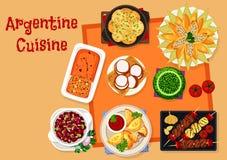 Argentinsk kokkonstsymbol med traditionell mat stock illustrationer