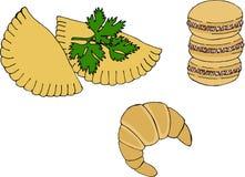 Argentinsk nationell kokkonst liksom empanadas, alfajorkakor och medialuna royaltyfri illustrationer