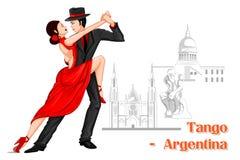 Argentinska par som utför tangodans av Argentina Royaltyfri Fotografi
