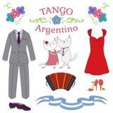 Argentinska tangodesignbeståndsdelar stock illustrationer