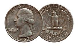 Argento di moneta del dollaro quarto dei fondi degli Stati Uniti, isolato su bianco immagine stock libera da diritti
