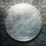 Argento di piastra metallica con l'ornamento classico Accumulazione dell'annata Fotografia Stock Libera da Diritti