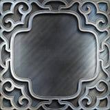 Argento di piastra metallica con l'ornamento classico Accumulazione dell'annata Fotografie Stock