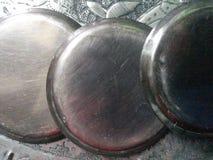 Argento di piastra metallica della latta dei piatti fotografia stock