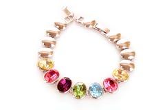 Argento e braccialetto dei diamanti Fotografia Stock Libera da Diritti