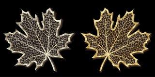 Argento e foglie di acero fatte a mano dorate Immagine Stock