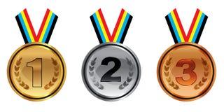 Argento e medaglie di bronzo dell'oro con i nastri isolati su fondo bianco Vettore Fotografie Stock Libere da Diritti