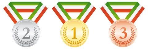 Argento e medaglie di bronzo dell'oro Icona di sport di cerimonia di premiazione Nastro bianco e rosso verde Immagine Stock