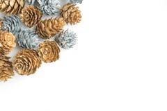 Argento ed oro Pinecones su fondo bianco Inverno, festa, Natale, fondo immagini stock