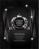 Argento elegante di evento di lusso e fondo nero con le tende scintillanti del teatro Immagini Stock Libere da Diritti