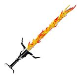 Argento medievale della spada di fantasia con la maniglia piacevole e la lama tagliente Fotografie Stock