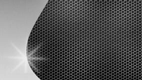 Argento spazzolato brillante dell'estratto su metallo esagonale Mesh Background royalty illustrazione gratis
