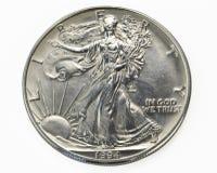 Argento una macro della moneta del dollaro Immagine Stock Libera da Diritti