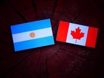 Argentyńska flaga z kanadyjczyk flaga na drzewnym fiszorku odizolowywającym zdjęcia stock