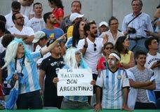 Argentyński fan poparcia wielkiego szlema mistrz Juan Martin Del Potro Argentyna podczas mężczyzna ` s przerzedże tenisowego fina Zdjęcie Royalty Free