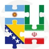 Argentyński, Irański, Bośnia Herzegovinan wewnątrz i Nigeryjski flaga, ilustracja wektor