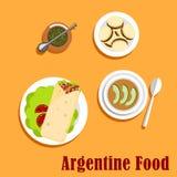 Argentyński lunchu i deseru jedzenie Obraz Royalty Free
