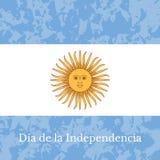Argentyna dzień niepodległości 9 Lipiec, flaga Argentyna Grunge tło o Słońce Maj ilustracja wektor