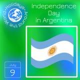 Argentyna dzień niepodległości 9 Lipiec, flaga Argentyna Słońce Maj Seria kalendarz Wakacje Dookoła Świata Wydarzenie każdego dni ilustracji