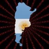 Argentyna mapy flaga na czerwonej hex kodu wybuchu ilustraci ilustracja wektor