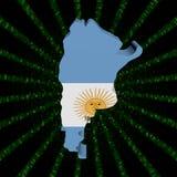 Argentyna mapy flaga na zielonej hex kodu wybuchu ilustraci royalty ilustracja