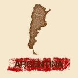 Argentyna martwił mapę Zdjęcia Royalty Free
