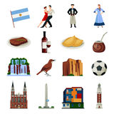 Argentyna symboli/lów Płaskie ikony Inkasowe ilustracja wektor