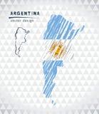 Argentyna wektorowa mapa z flaga inside odizolowywającym na białym tle Nakreślenie kredy ręka rysująca ilustracja royalty ilustracja