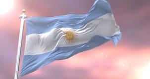 Argentyna zaznacza falowanie przy wiatrem przy zmierzchem, pętla royalty ilustracja