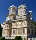 Arges Monastery, Curtea de Arges. Arges Monastery, one of Romanias most cherished Orthodox places of worship, on the day of the Dormition (Falling Asleep) of the royalty free stock photos