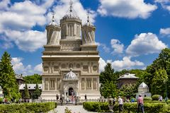 Arges Monastery on a sunny day royalty free stock photos