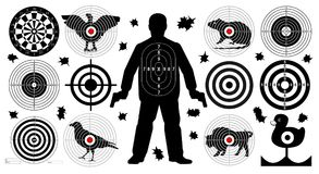 Arget for shooting set, man with arms, shoot gun aim animals people man. Target for shooting set, man with arms, shoot gun aim animals people man isolated. Sport Stock Photos
