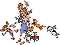 ARGHHHHH. A woman is trying to control her kids and pets stock illustration