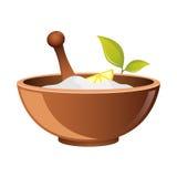 Argilla in tazza per l'icona di vettore della stazione termale per il web Ciotola per i cosmetici Symbo naturale della farmacia i Fotografie Stock