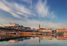 Argine del Danubio a Bratislava Immagini Stock