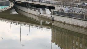 Argine del fiume della città stock footage